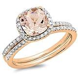 14K Rose Gold Cushion Cut Morganite & Round Cut White Diamond Bridal Halo Engagement Ring Set (Size 7.5)