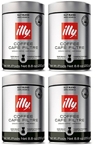 Illy Cafe - illy Caffe Scuro Drip Grind (Dark Roast, Brown Band), 8.8-Ounce Tins (4 Pack)