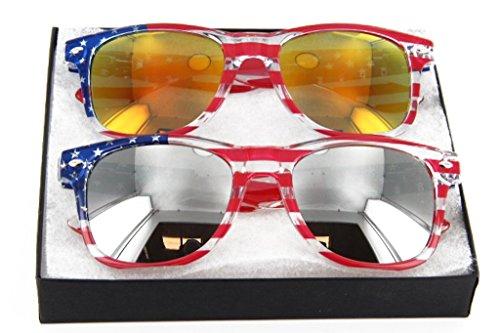 MJ Eyewear Patriotic American Flag Sunglasses Gift Box (Multi-colored, Mirror & Sunset Color Mirror - American Great Eyewear