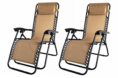 Palm Springs 2X Zero Gravity Chairs Lounge/Outdoor Yard Patio Chairs Tan