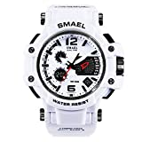 Richermall SMAEL Men's Sport Military Watch Dual Display Analog Digital Watch 50M Waterproof with Backlight for Sports Swimming (white)