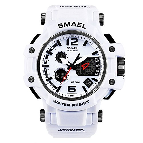 's Sport Military Watch Dual Display Analog Digital Watch 50M Waterproof with Backlight for Sports Swimming (white) ()