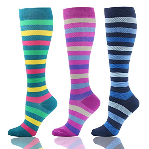 (HLTPRO Compression Socks (20-30 mmHg) for Men & Women -3/6 Pairs Best Stockings for Running,Traveling, Shin Splints, Nurse, Athletic and Pregnancy (3 Pairs Beautiful Stripes, S/M))