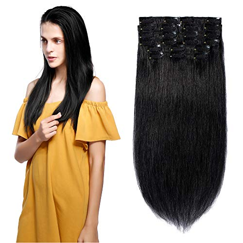 - Clip in Hair Extensions Human Hair Full Head 8 Pieces 18 Clips 100% Real Silky Human Hair 10 Pieces 22 Clips Straight 16