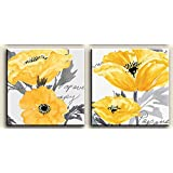 Amazon viivei yellow and grey flower wall art abstract oil gray yellow flower floral canvas wall art modern prints mightylinksfo
