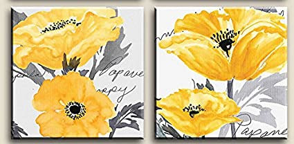 Amazon gray yellow flower floral canvas wall art modern prints gray yellow flower floral canvas wall art modern prints mightylinksfo
