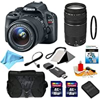 Canon EOS Rebel SL1 Digital SLR with EF-S 18-55mm f/3.5-5.6 IS STM Standard Zoom Lens + EF 75-300mm f/4-5.6 III Telephoto Zoom Lens + 11-Piece Deluxe Accessory Bundle (99920) Noticeable Review Image