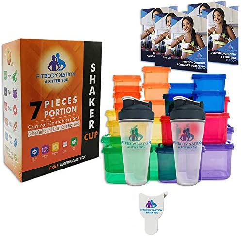 28pcs 21 Day Portion Control Containers (Color-Coded, Label-Engraved) for Meal Prep Storage With 2 Protein Shaker Bottle(Mixer Ball), Measuring Tape, Ebook Weight-Loss Diet Plan, Recipes