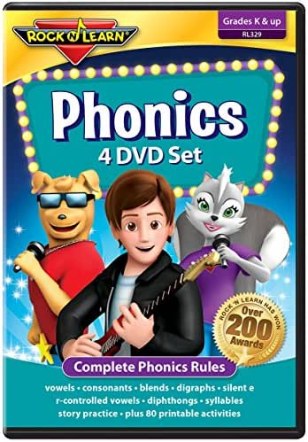 Phonics 4 DVD Set by Rock 'N Learn: Complete Phonics Program with 81 Printable Worksheets
