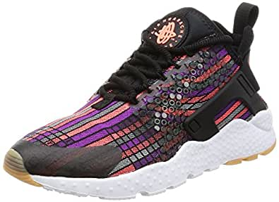 Nike Womens Huarache Run Ultra Jcd PRM Running Trainers 885019 Sneakers Shoes (UK 3.5 US 6 EU 36.5, Black Hot Lava Gum Yellow 001)