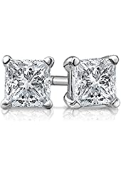 Sterling Silver Princess Cut Square Cubic Zirconia Stud Earrings Select From Size 3mm 4mm 5mm 6mm 7mm