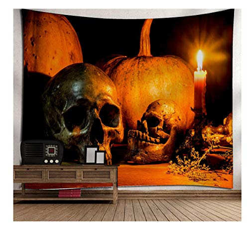 (EASYHON Halloween Tapestry - Moon Pumpkin Wall Hanging Tapestry Room Bedspread Wall Art Hanging Home Decor Tapestry, Happy Halloween (B))
