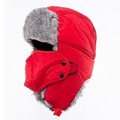 Winter Trapper Hat, AYAMAYA Ushanka Russian Style Windproof Mask Trooper Hat