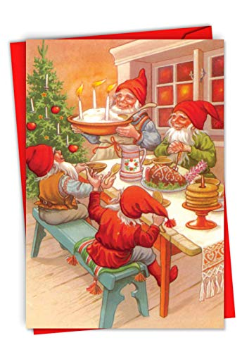 Box Set of 12 'Gnome for the Holidays' Christmas Greeting Card Showcasing a Happy Family Dinner of Fairytale Creatures, with Envelopes C6440BXSG-B12x1