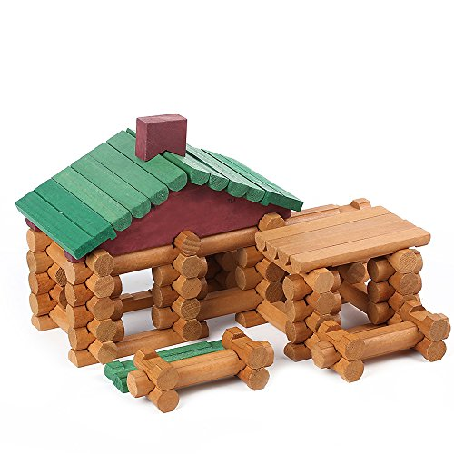 Wondertoys 90 Piece Classic Wood Cabin Logs Set Building Toy For (Wood Log Cabin Tree House)