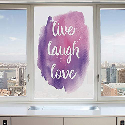 3D Decorative Privacy Window Films,Wise Happy Life Message on Watercolor Paintbrush Effects Print Decorative,No-Glue Self Static Cling Glass Film for Home Bedroom Bathroom Kitchen Office 17.5x36 Inch