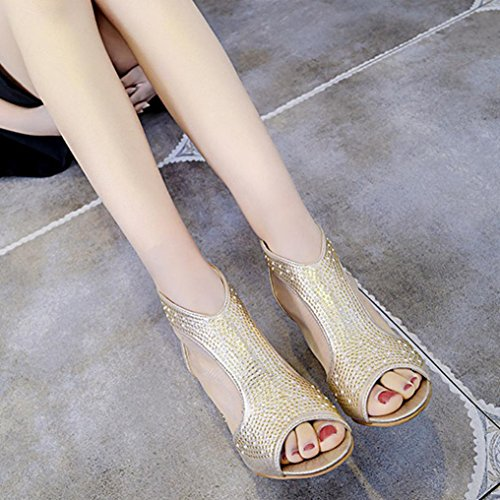 d5a72b935f2 Heel Block Peep Rivets 2 7 Size Summer Shoes for Women Toe Sparkly ...