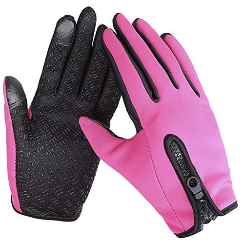 (Women Men Touch Screen Winter Cycling Gloves Anti-Slip Outdoor Bike Drive Running Ski Glove Windproof Thermal Warm Gloves (Pink, Medium))