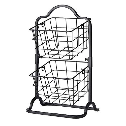 2-Tier Metal Basket Stand, Mini Kitchen Storage Basket Countertop Shelf Rack for Fruits, Vegetables, Household Items, Toiletries(Black).