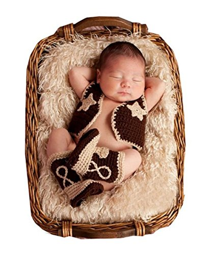 Fashion Cute Newborn Baby Boy Girl Photography Props Costume Outfits Cowboy Suit (Baby Cowboy Costume)