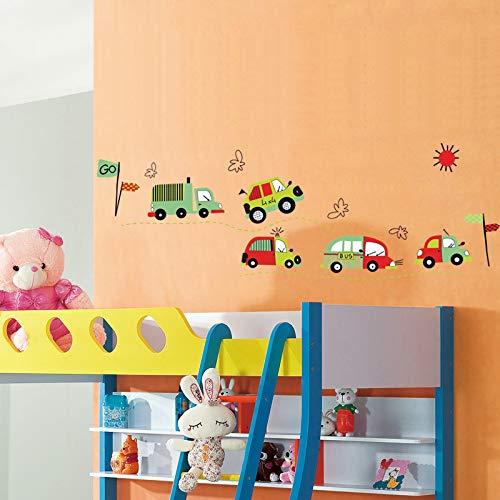 Atiehua Pegatinas De Pared Cartoon Car Bus Encantadora Decoración Del Hogar Wal Pegatina Para Niños Bebés Niños...