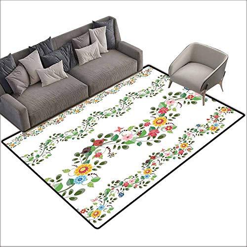 (Rug Bathroom Mat Green Flower,Horizontal Foliage Pattern Ornamental Abstract Design Vintage Style Romance,Multicolor 64
