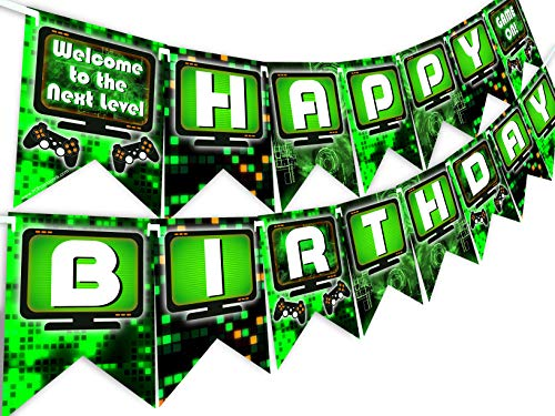 (POP parties Gaming Party Happy Birthday Banner - Video Game Party Supplies - Game Truck Party Decorations - Gaming Green)