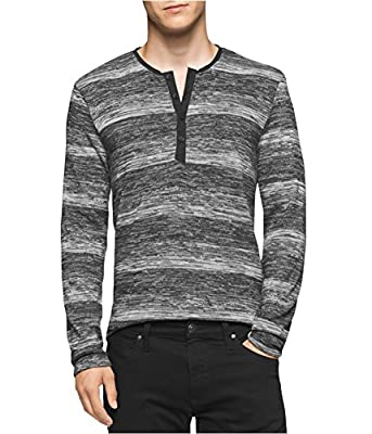 Calvin Klein Mens Marled Slim Fit Henley Sweater