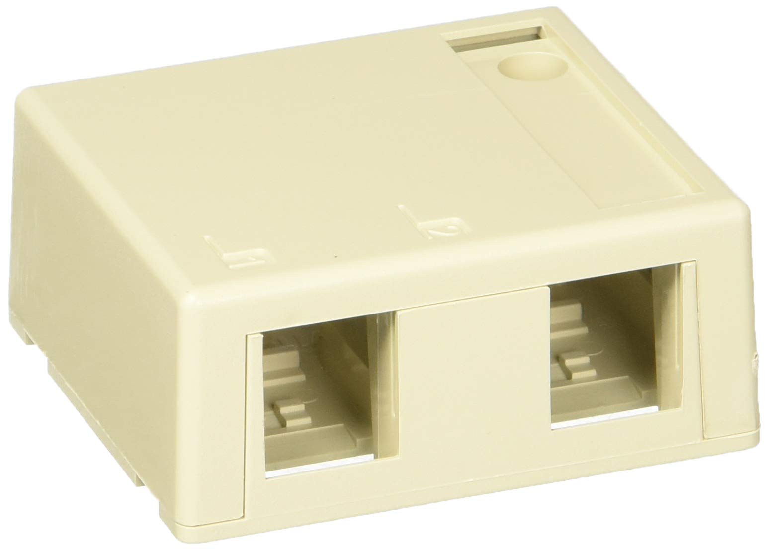 Leviton 41089-2IP Quickport Surface Mount Housing, 2-Port, Includes 1 Blank Quickport Insert, 25-Pack, Ivory