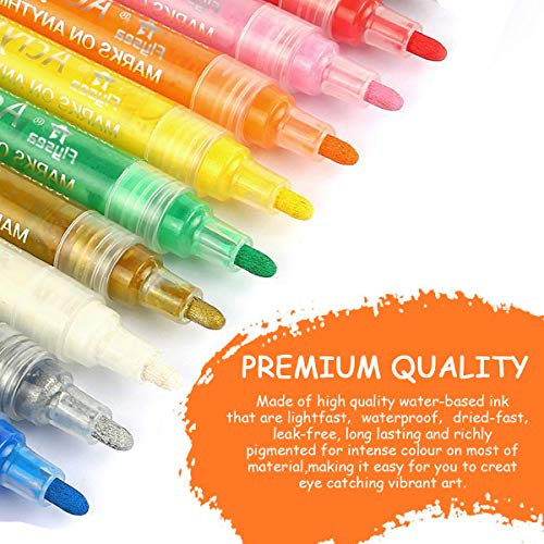 Acrylic Paint Pens Set 24 Colors Marker Pens for Rock Painting, Ceramic, Porcelain, Glass, Stones, Pebbles, Fabric, Wood & DIY Craft Medium Tip Marker Pen 3mm
