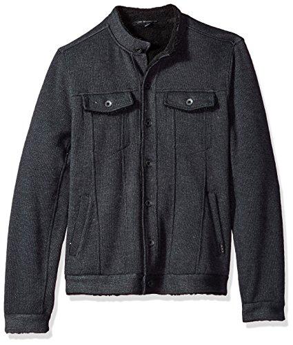 John Varvatos Men's Knit Jean Jacket, Charcoal, Large by John Varvatos