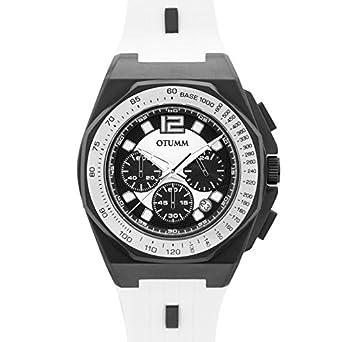 Otumm Sports Tachímetro Crono Negro Blanco 45mm Unisex Sports Reloj: Amazon.es: Relojes