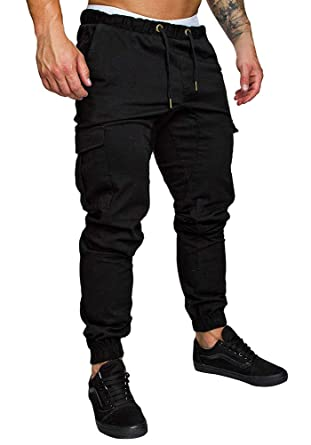 ab01111d49 Tomwell Mens Cargo Trousers Slim Fit Jeans Skinny Elastic Drawstring Chinos  Pants with Pockets Fashion Casual Sports: Amazon.co.uk: Clothing