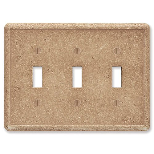 Questech Noche Tumbled Textured Wall Plate/Switch Plate/Outlet Cover (Triple Toggle Switch)