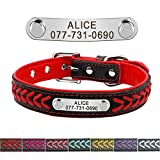 Didog Leather Custom Collar,Braided Leather Engraved Dog Collars with Personalized Nameplate for Small Medium Large Dogs