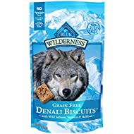 Blue Buffalo Wilderness Denali Biscuits Grain Free Crunchy Dog Treats, Wild Salmon, Venison, & Halibut 8-oz bag
