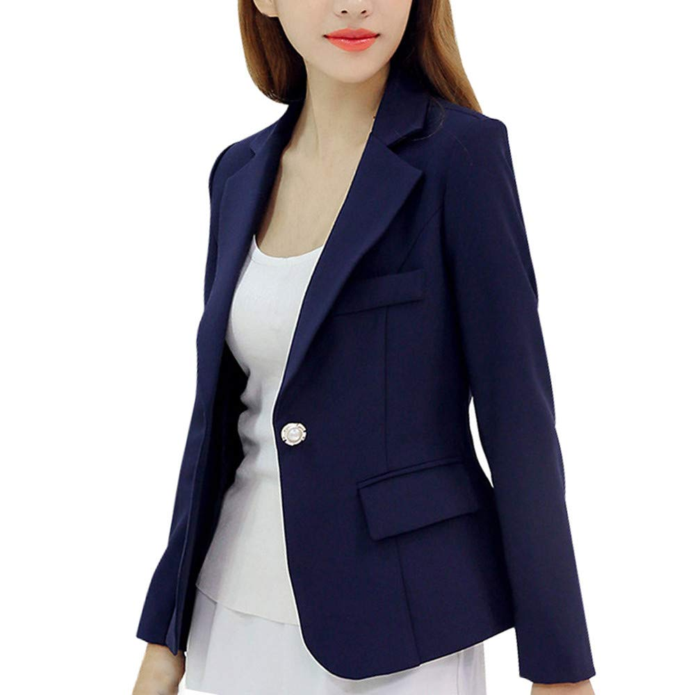 Women Suit Long Sleeve Button Jacket,Mosunx Ladies Work Office Solid Slim Coat (M, Navy)