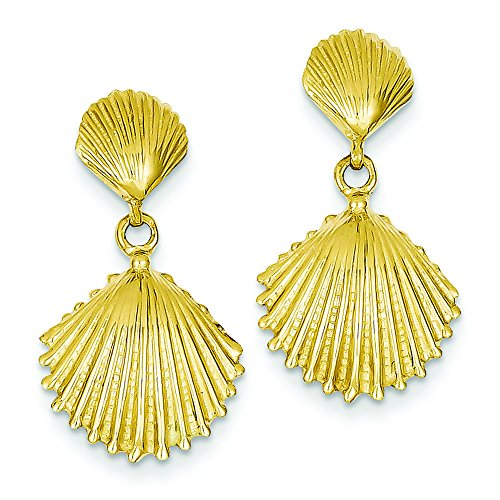 14k Scallop Shell Dangle Post Earrings by Shop4Silver