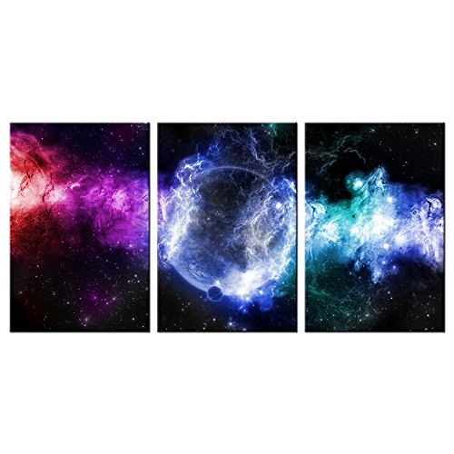 VVOVV Wall Decor - Contemporary Outer Space Landscape Canvas Prints Planet In Starry Night Poster Solar System Galaxy Universe Wall Art Painting Abstract Cloud Cosmic Nebula Picture by VVOVV Wall Decor
