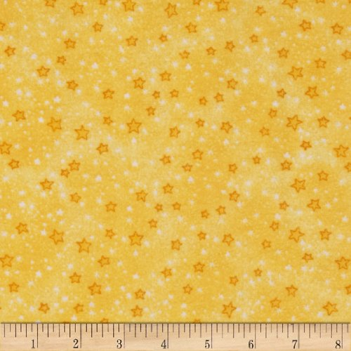 A.E. Nathan Flannel Stars Yellow Fabric by The -