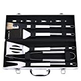 BBQ Grill Tools Set - Discoball Stainless Steel Utensils with Aluminium Case 9 Barbecue Accessories - Outdoor Grilling Kit for Dad