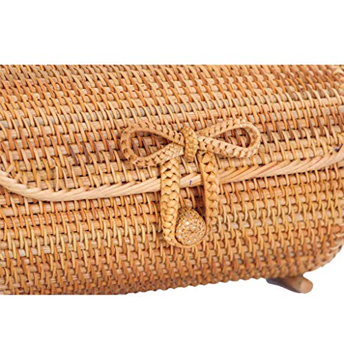 Women's Bag, Rattan Bag - Cylindrical - Slung - Beach Bag - Flower Lining - Retro Travel Bag by BHM (Image #2)