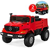 Best Choice Products Kids 24V 2-Seater Officially Licensed Mercedes-Benz Zetros Ride-On SUV Car Truck Toy w/ 3.7 MPH Max, LED Headlights, FM Radio, Trunk Storage, AUX Port, Horn, Sounds - Red