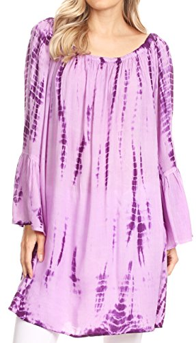 asual Flowy Wide Neck 3/4 Sleeve Light Summer Boho Blouse Top - TD-Purple - OS (Anna 3 Light)