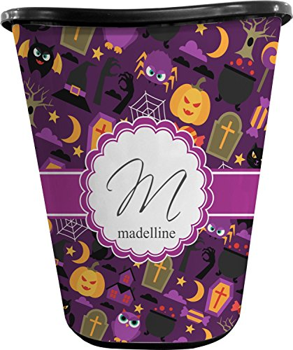 Halloween Waste Basket (Black) (Personalized) (Can Owl Bathroom Trash)
