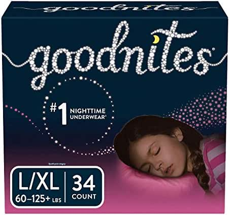 Goodnites Bedwetting Underwear for Girls, Large/X-Large (60-125+ lb.), 34 Ct  (Packaging May Vary)