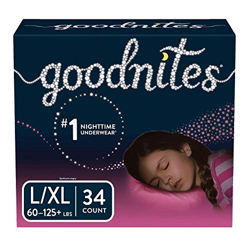 Goodnites Bedwetting Underwear for Girls, L/XL (60-125+ lb.), 34 Ct  (Packaging May Vary)