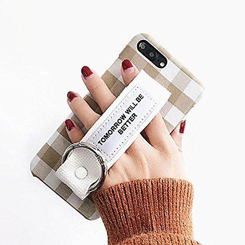 MXNET IPhone 7 Plus Fall, Grid Pattern Canvas Schutzhülle mit morgen wird besser sein Red Wristband CASE FÜR IPHONE 7 PLUS ( SKU : Ip7p0348b )
