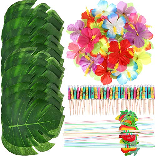 Frienda 148 Pieces Luau Themed Party Decorations, 24 Pieces Tropical Palm Leaves, 24 Pieces Hawaiian Flowers, 50 Pieces Mixed Color Umbrellas and 50 Pieces Colorful 3D Fruit Straws ()