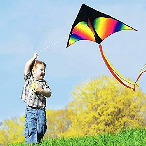 Gotian Huge Big Large Rainbow Kite Kids and Adults Flying Wind Toy Boys Girls Outdoor Easy to Fly Outdoor Summer Beach Fun Flying Kites Games for Outdoor Games Toys